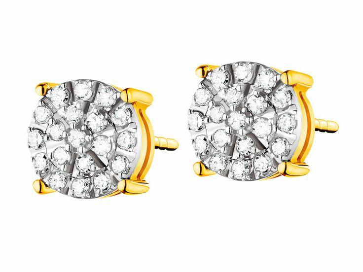 Kolczyki z żółtego i białego złota z diamentami | Apart
