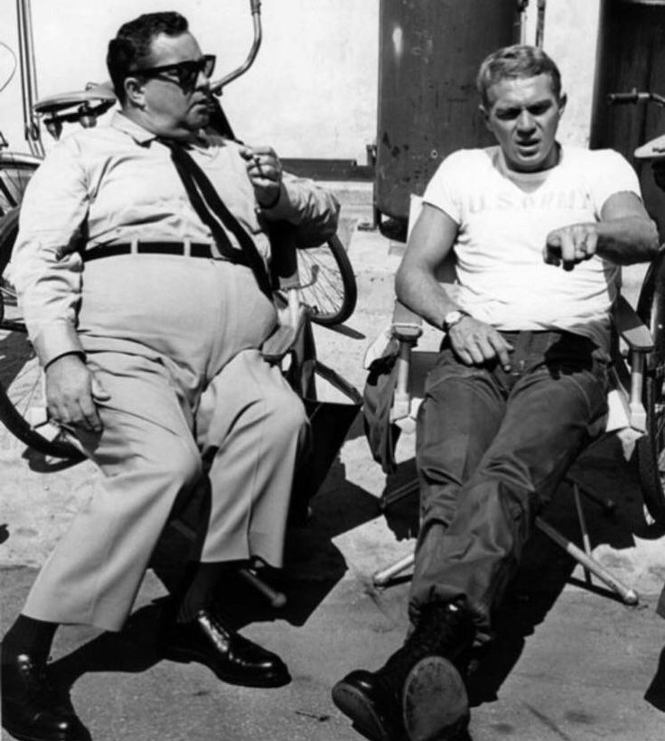 Jackie Gleason and Steve McQuinn on the set of Soldier in the Rain (1963)