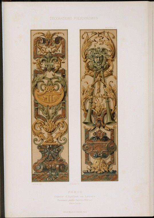 Paris : Galerie d'Apollon au Louvre : panneaux peints d'après J. Bérain, XVIIme siècle