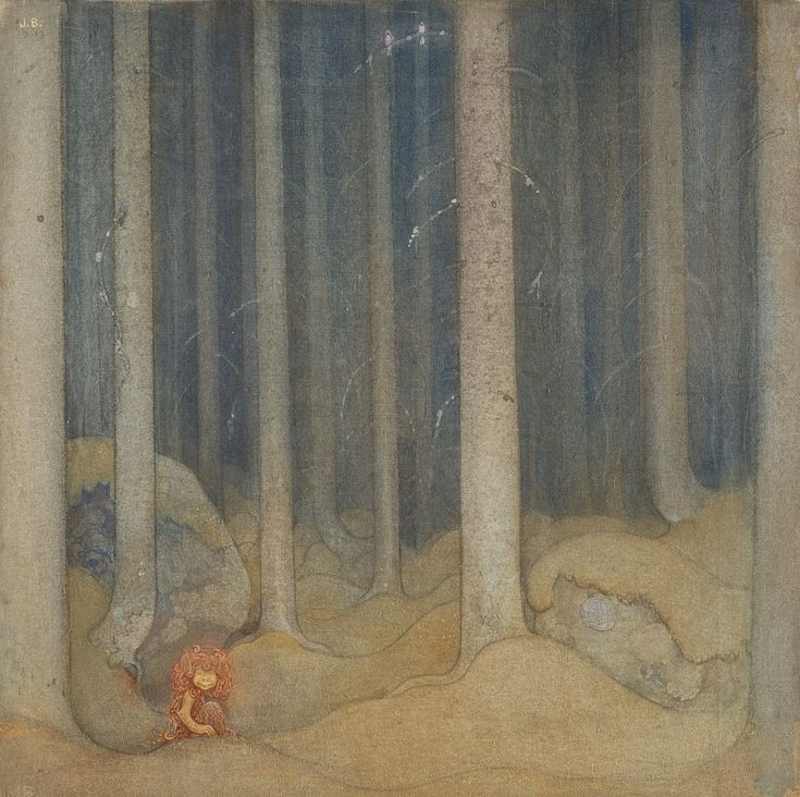 John Bauer - Humpe i trollskogen (Humpe in the woods), 1913
