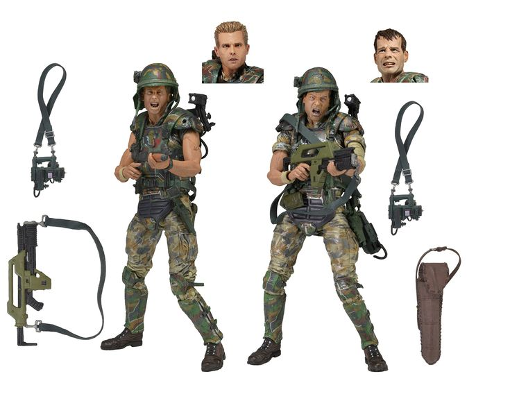 """NECA Aliens 7"""" Scale Action Figures (2 Pack). Based on the classic Aliens film franchise. Both figures stand about 7 inches tall with over 30 points of articulation. Authorized likeness of actors Bill Paxton (Private Hudson) and Michael Biehn (Corporal Hicks). Accessories included: pulse rifles, motion detectors, shoulder lamps, welding torches, shotgun and shotgun carrier. Also comes with interchangeable heads with a helmeted """"combat"""" sculpt."""