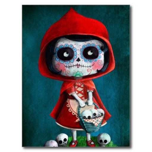 Crâne rouge de sucre de capuchon cartes postales