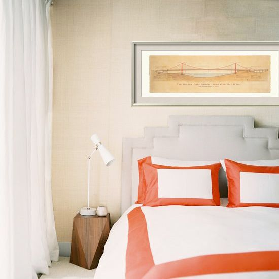 bedroom with gg bridge print: Bedrooms Restyle, Interiors, Coral Border, Awesome Pin, Golden Gate, Bedrooms Interiordesign, Gray Bedrooms, Cozy Bedrooms, Coral Accent