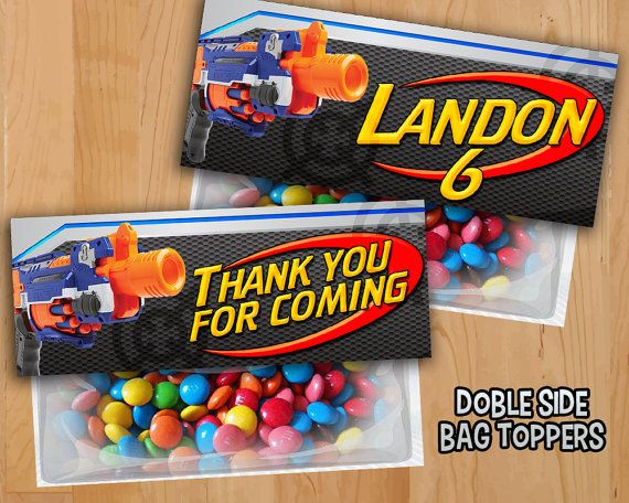 Nerf Favor Bag Toppers  PERSONALIZED  Nerf War Treat by LTAPrints