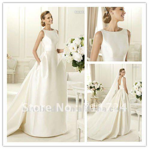 Best 25 bateau wedding dress ideas on pinterest halter for Satin low back wedding dress