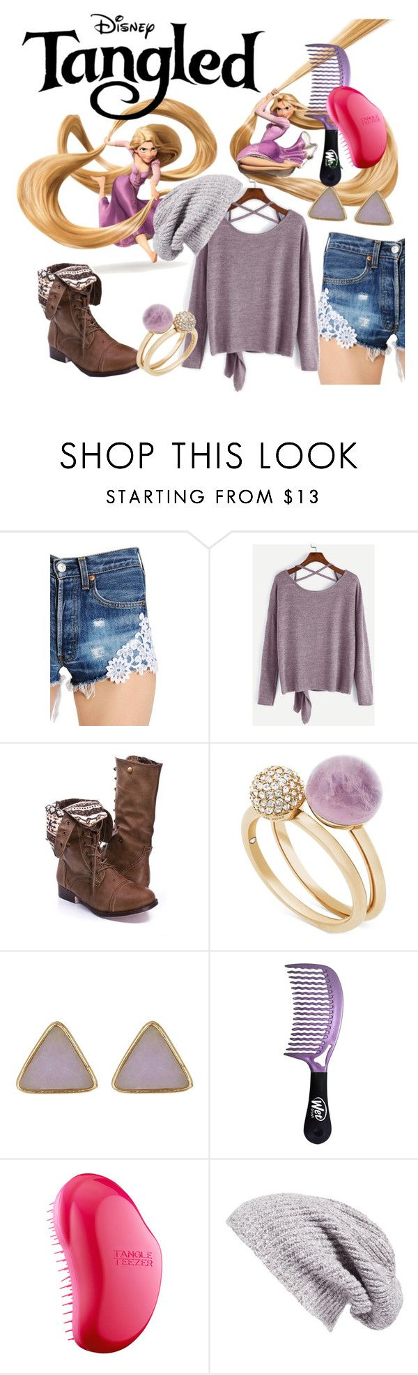 """""""Kick-ass Rapunzel"""" by fashion-film-fun ❤ liked on Polyvore featuring Disney, Forte Couture, Michael Kors, 14th & Union, Tangle Teezer and Caslon"""