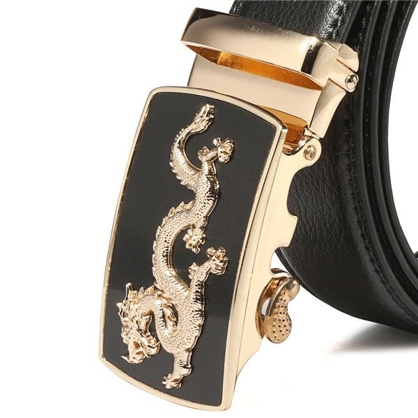 Men's Dragon Pattern Black Genuine Belt Automatic Buckle Waist Strap
