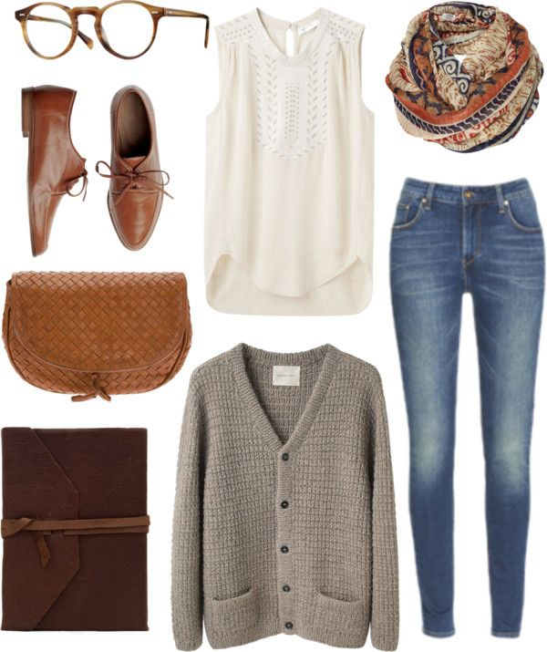 Jean brut + blouse blanche romantique + cardigan taupe + foulard ethnique + derbies marrons = tenue pour la semaine
