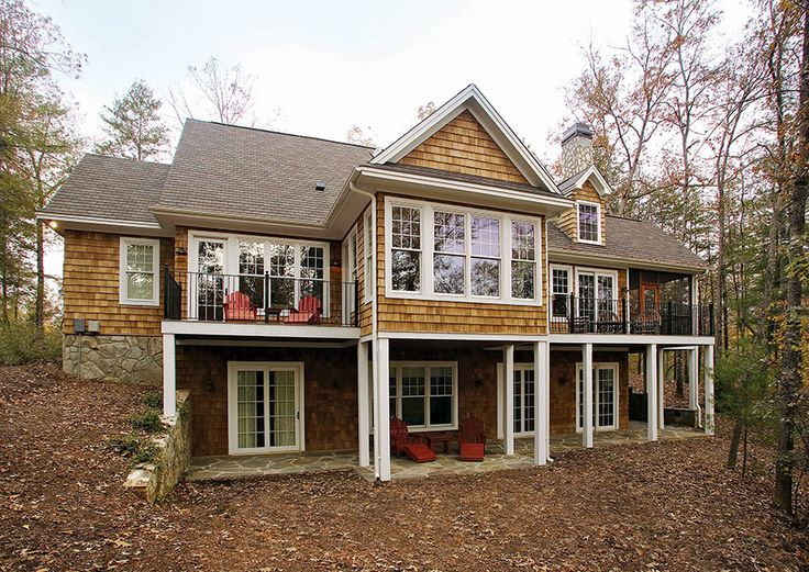 Rear exterior of the Adelaide Plan 866-D http://www.dongardner.com/plan_details.aspx?pid=2253 -  Two decks, a screened porch and spacious patio provide plenty of room for outdoor entertaining this charming Craftsman design. #HomePlans #Craftsman #BackPorch