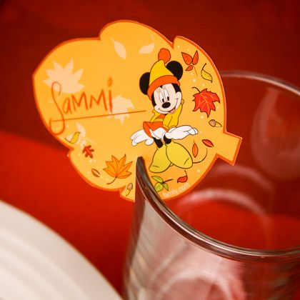 Mickey and Friends Thanksgiving Glass Rim Place Cards | Spoonful