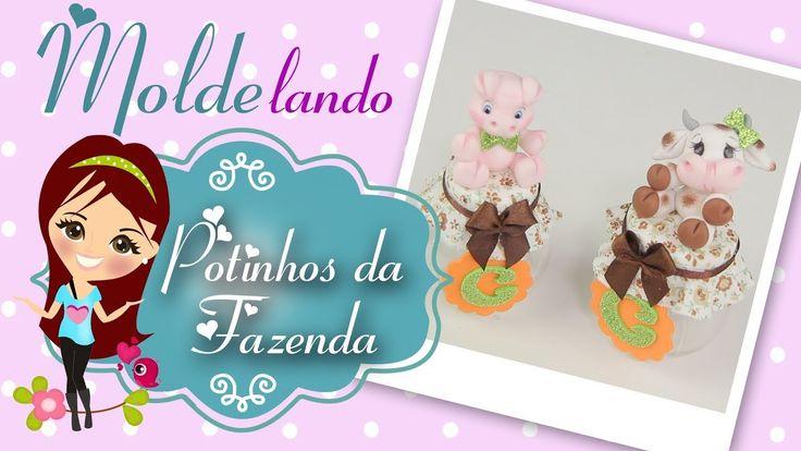 Potinhos de Vaquinha e Porquinho de Biscuit - Lembrancinha - MOLDElando ...