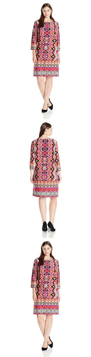 London Times Women's Plus Size Chevron Puzzle Printed Long Sleeve Jersey Shift, Coral Multi, 18W