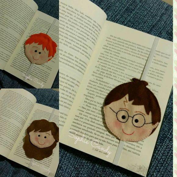 Marca Página dos Personagens do filme Harry Potter em feltro. Harry Potter Hermione Rony Valor referente a um personagem. Para solicitar os 3, coloque 3 na quantidade.