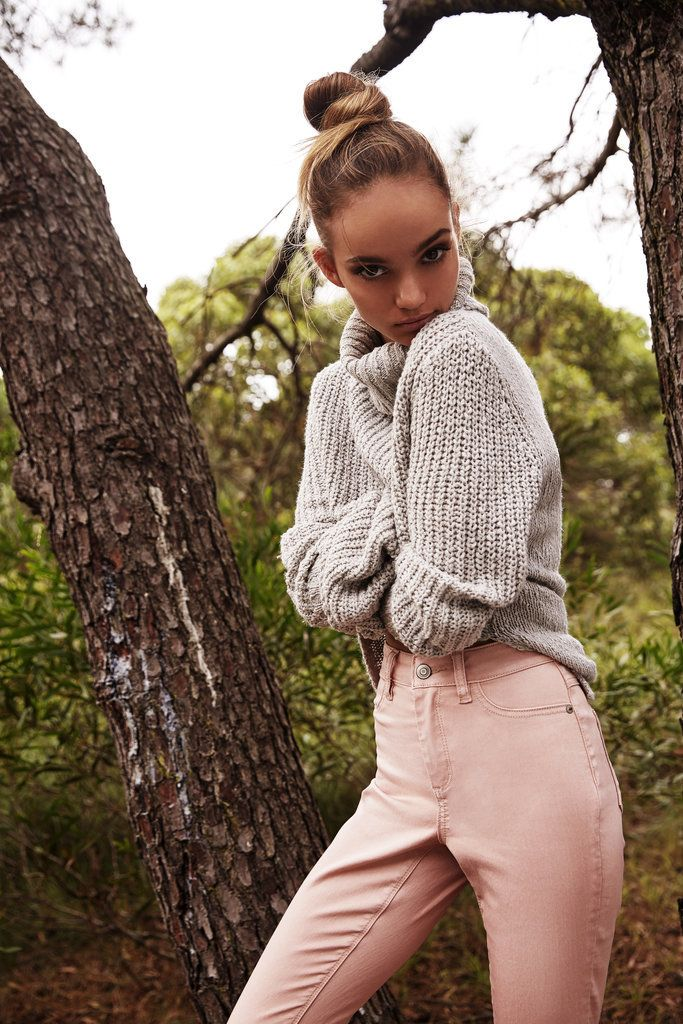 If you live in denim and love a fresh colour, pastel pink jeans are an easy way for you to access the trend and feel comfortable in it, too. Knit, $40, Supré. Jeans, $35, Supré.