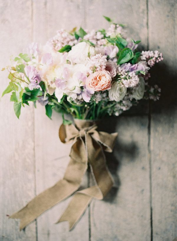 Sweet pea, lilac and rose bouquet