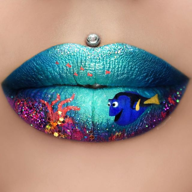 """""""When life gets you down do you wanna know what you've gotta do? Just keep swimming."""" @jeffreestarcosmetics 'Weirdo, Blue Velvet, Breakfast at Tiffany's, Drug Lord, Queen Supreme & Prom Night'  @colouredraine eyeshadows 'Blue Magic, Black Moon & Malibu' and matte lip paints 'Daddy's girl, Berrie Raine & Speechless' ✨ @sugarpill 'Mochi & Buttercupcake' pressed eyeshadows and 'Lumi' loose eyeshadow ✨ @occmakeup 'Fae' glitter  #jeffreestarcosmetics #sugarpill"""