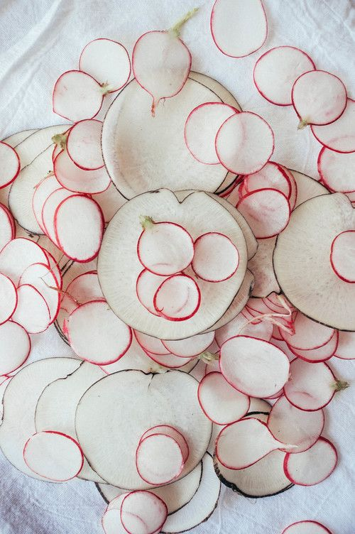 sliced spring radishes.