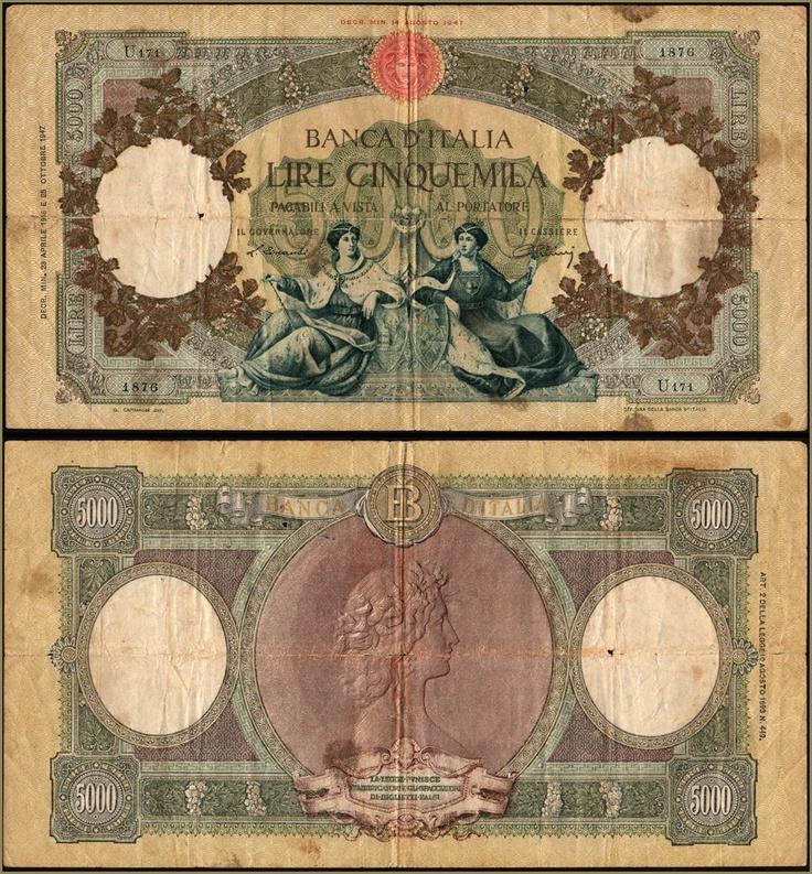 Collezione Personale di Banconote Italiane: 0.1.7. - 5000 LIRE MARINARE