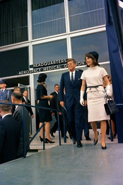 President and Mrs. Kennedy at Brooks Air Force Base in San Antonio, Texas, for the dedication ceremony of the Aerospace Medical Health Center at approximately 2:25 PM. on Nov 21, 1963.
