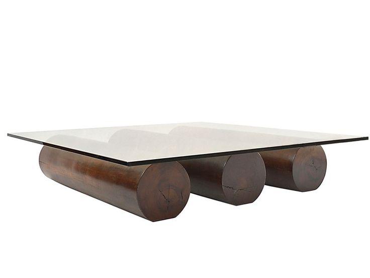 Cilindro Log Coffee Table Glass Top