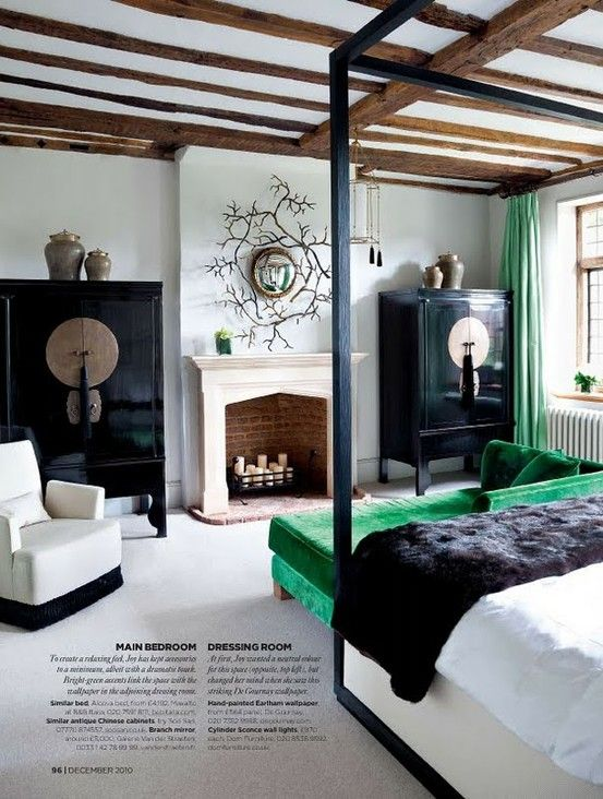 emerald: Decor, Interior Design, Exposed Beams, Color, Green, Master Bedroom, House, Bedrooms, Fireplace