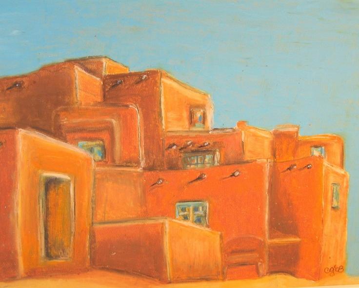 Albuquerque To Santa Fe >> Santa Fe, New Mexico, Adobe Home. $12.00, via Etsy. | Art Work | Pinterest | Santa fe, Adobe and ...