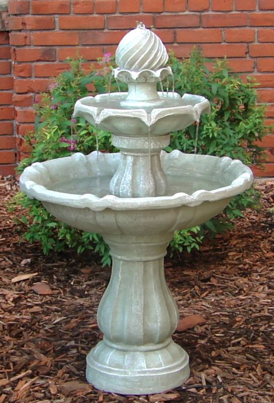 Two Tier Solar On Demand Fountain  White Earth Finish · Outdoor ...