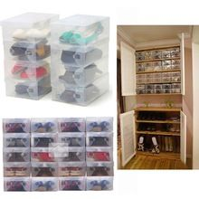 2016 High Quality 10pcs/lot Foldable Plastic Shoe Storage Case Boxes Stackable Organizer Shoe Holder Easy DIY Free Shipping(China (Mainland))