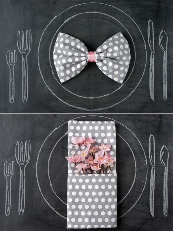 Idea for His and hers napkins for a plated dinner with assigned table seating. Creative and personal to each guest!