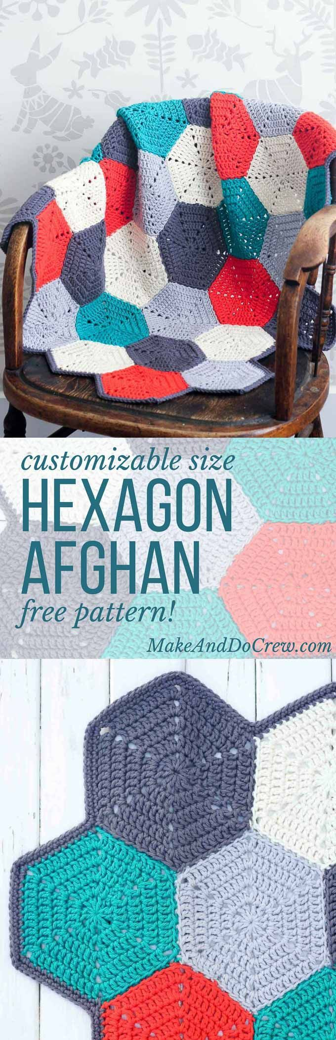 This free crochet afghan pattern is customizable, so you can use it to make a baby blanket, lap blanket or even a bedspread. Makes a great modern, gender-neutral baby shower gift idea or an afghan for the couch.