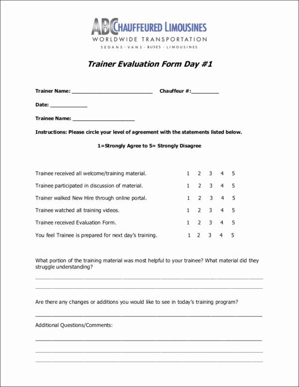 Training Evaluation Form Template Inspirational Free 11 Trainer Evaluation Form Samples Template Evaluation Form Training Evaluation Form Training Evaluation