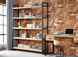 Industrial living room and home office with wood, metal, and bricks.