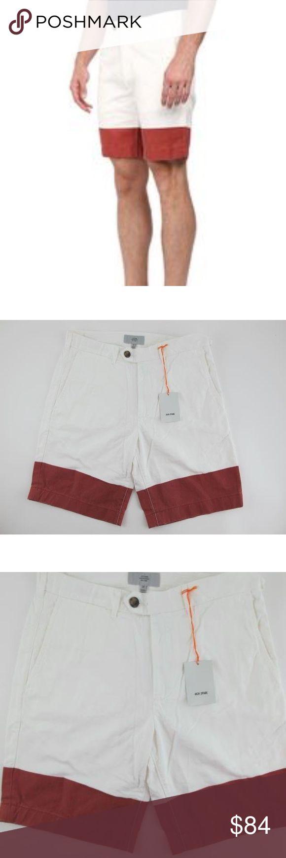 ♠️️ JACK SPADE ♠️️ Cole Shorts Trousers, White Red Nice men's shorts, dipped leg Jack Spade Shorts