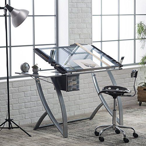 The efficient artist will appreciate the Studio Designs Futura Advanced Drafting Table with Side Shelf. Constructed of durable heavy gauge steel, this sleek, contemporary-style drafting table features a tempered blue safety glass work surface, which measures 36W x 24D inches. The collapsible... more details available at https://furniture.bestselleroutlets.com/home-office-furniture/drafting-tables/product-review-for-studio-designs-futura-advanced-drafting-table-with-side-shelf