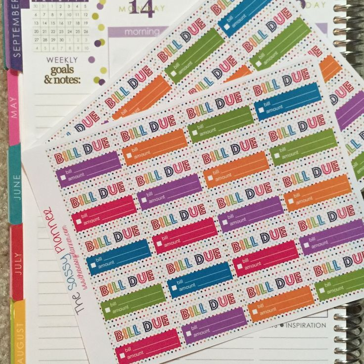 D2 Bill Tracker Stickers for Erin Condren Life Planner Weekly Spread, Set of 40 Rainbow Polka Dot