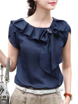 Short Sleeve Bow Knot Women's Blouse