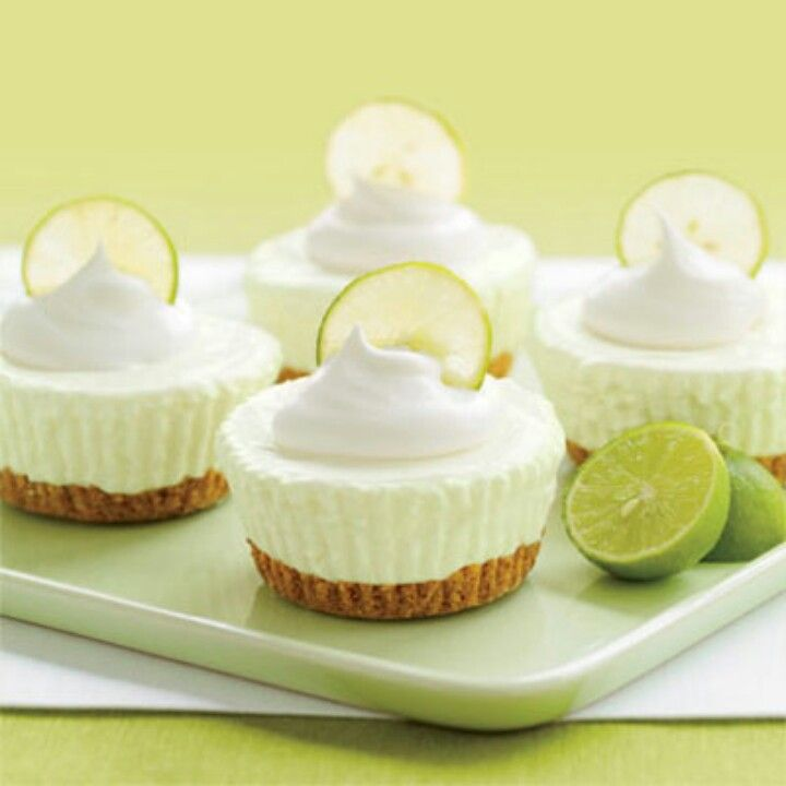 Keylime cheesecake cupcakes I used vanilla wafers for the crust, they were awesome!