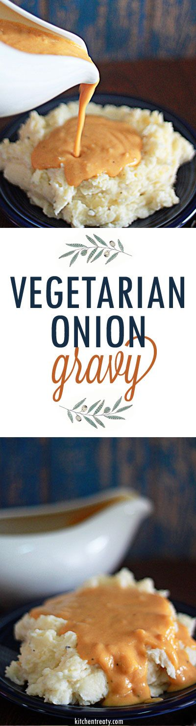 Vegetarian Onion Gravy recipe with vegan option - This 4-ingredient vegetarian onion gravy is exactly what you've been missing on Thanksgiving. And it's so easy to whip up a batch!