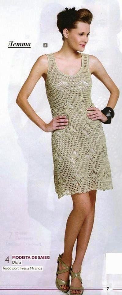 Vestido para dama tejido al crochet | Crochet y Dos agujas