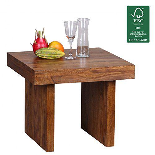 WOHNLING Beistelltisch Massiv Holz Sheesham 60 X Cm Wohnzimmer Tisch Design Dunkel