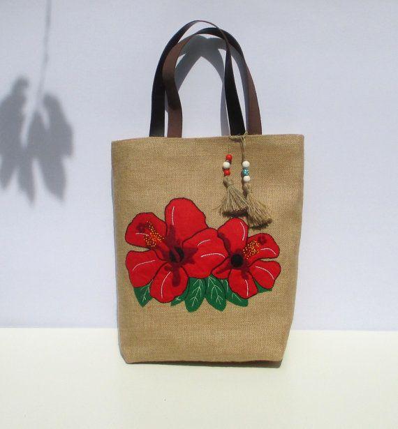 Red Hibiscus bright large flower jute tote bag Hawaii