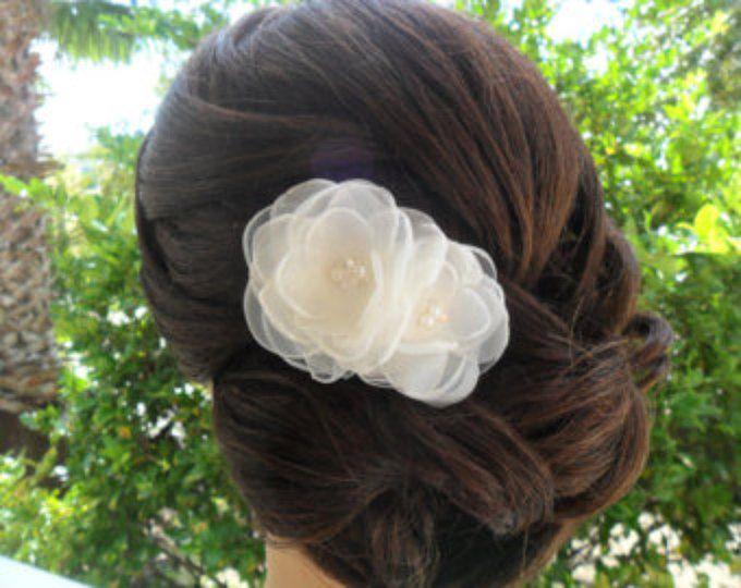 Accesorio del pelo, peine del pelo de novia, Organza peluca, pedazo del pelo de la boda, pinza de pelo de novia, nupcial pelo flor, Fascinator de boda de novia
