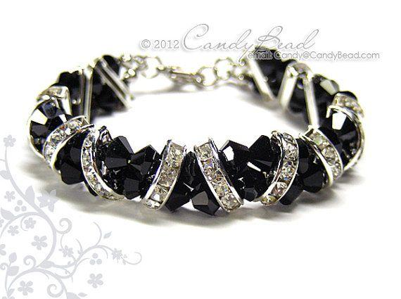 Swarovski Bracelet, Jet Black Crystal Cuff Bracelet by CandyBead