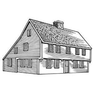 SALTBOX  Time: 1670-1780. Place: New England.  The distinctive catslide roof sloughed off heavy snows and rain.Roof Slough, Saltbox Time, Distinctive Catslid, Heavy Snow, Catslid Roof, Interiors Design