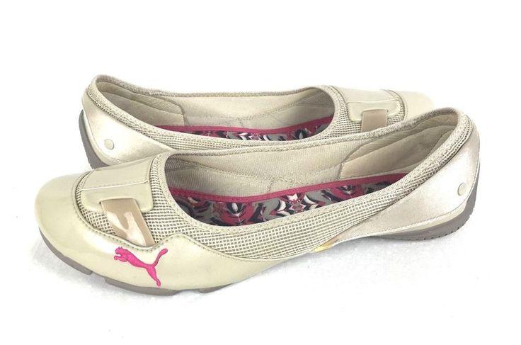PUMA Loafers Womens 11 Beige LEATHER Slip On Shoes #Puma #BalletFlats #WeartoWork
