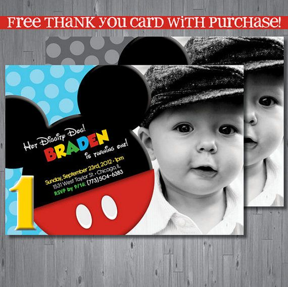 Mickey mouse Birthday Invitation, first birthday invitation, clubhouse birthday, party invitation printable, FREE thank you card, INSPIRED on Etsy, $15.00