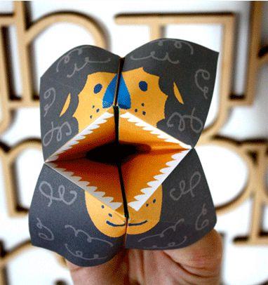 Roaring lion cootie catcher template - Moodkids