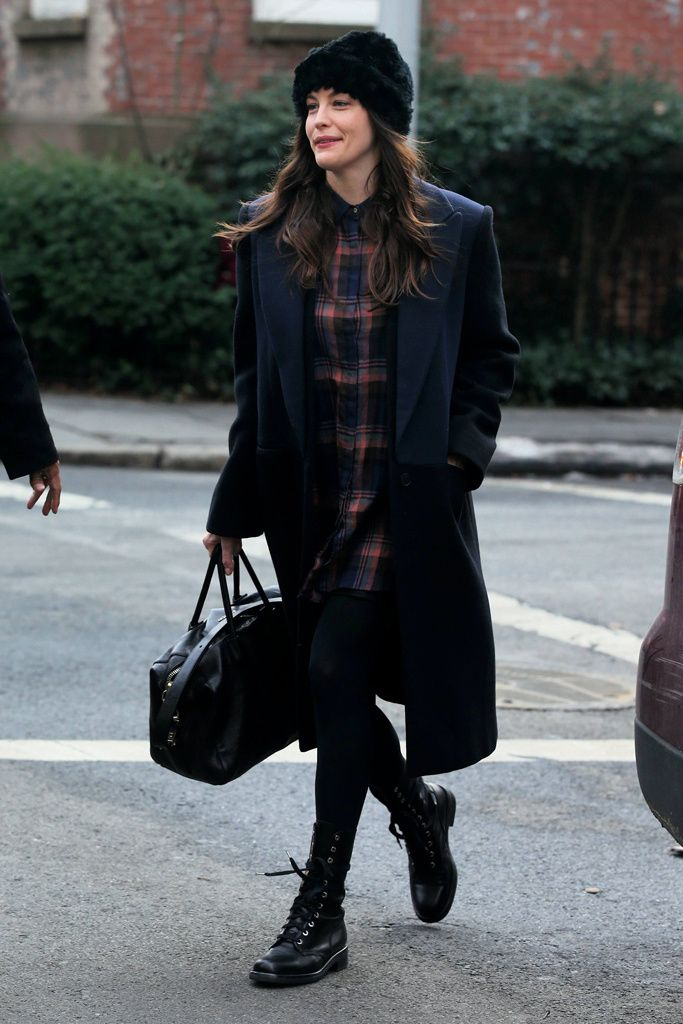 Oversized long black coat + black and brown checked shirt dress + black boots + black furry hat
