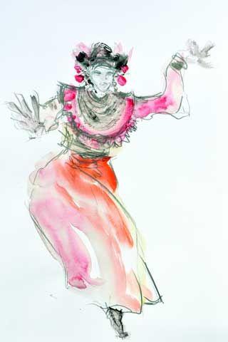 Danse à Bali (Crayon et aquarelle - Mai 2014) par JC Debray