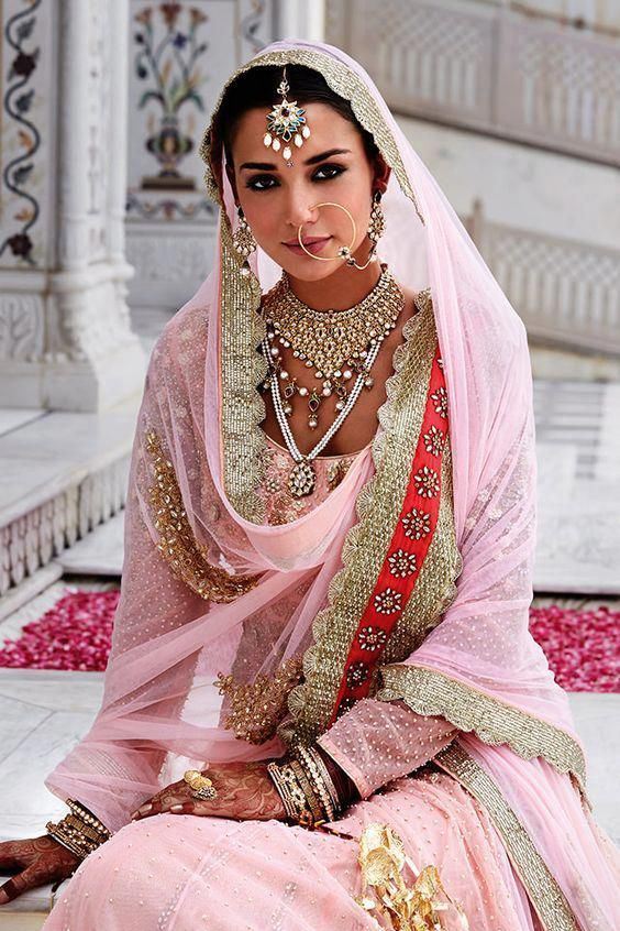 Indian bridal look inspiration | Stunning Indian brides | Blush pink lehenga with golden gotapatti details | Kundan and pearl jewelry | Day wedding lo...